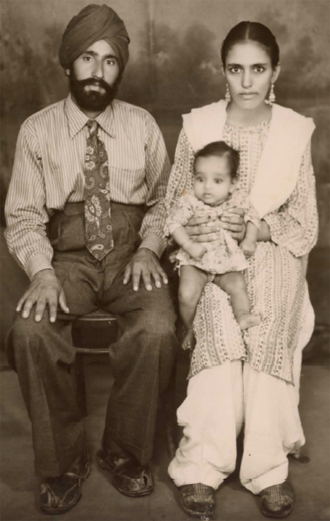 Karnail Singh Takhar with wife Gurmit Kaur and infant daughter, Davinder (October 1954)