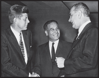 Congressman Saund with John F. Kennedy and Lyndon B. Johnson in Washington