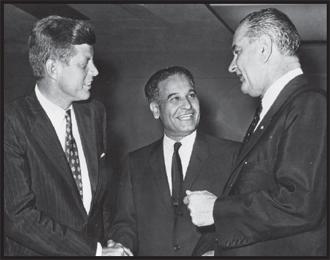 Congressman Saund with John F. Kennedy and Lyndon B. Johnson in Washington