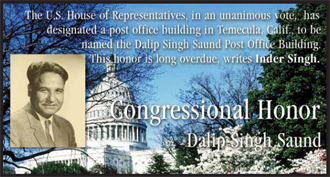 Congressional Honor to Dalip Singh Saund