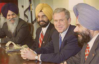President Bush meets with Sikh Americans, September 2001