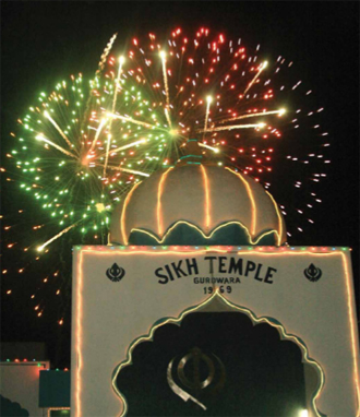 Fireworks at the Tierra Buena Sikh Temple Gurdwara in Yuba City